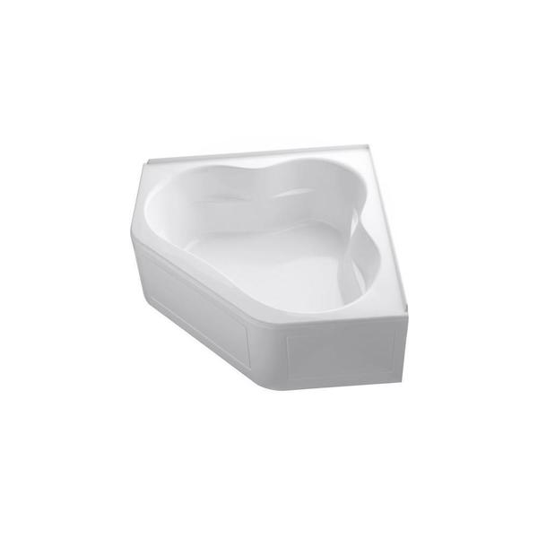 Tercet 5 Foot BubbleMassage Corner Bath Tub with Left-hand Drain in White