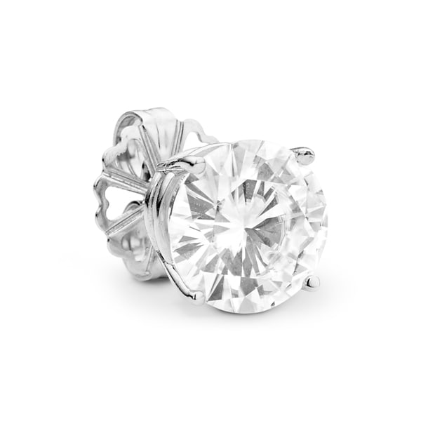 Charles and Colvard 14k White Gold Classic Round 2 1/5ct Single Moissanite Solitaire Stud Earrings