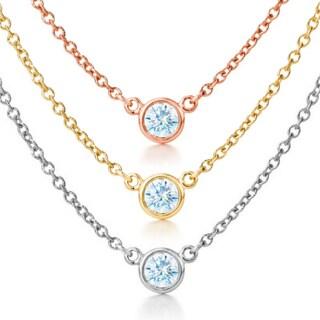 Suzy Levian 14k Gold 2/5 ct Bezel Diamond Solitaire Necklace