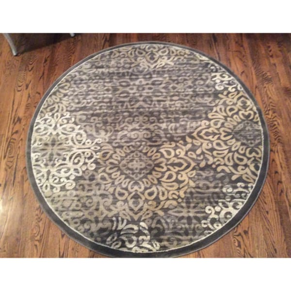 Plaza Mia Brown Area Rug (5'3 Round)