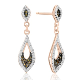 14k Rose Gold over Silver 1/3ct TDW Champagne and White Diamond Dangle Earrings (H-I, I1-I2)