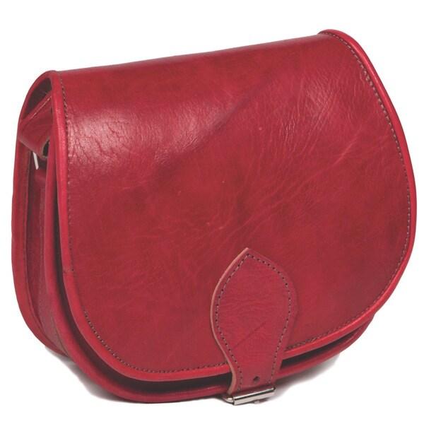 Handmade Red Leather Crossbody Bag (Morocco)