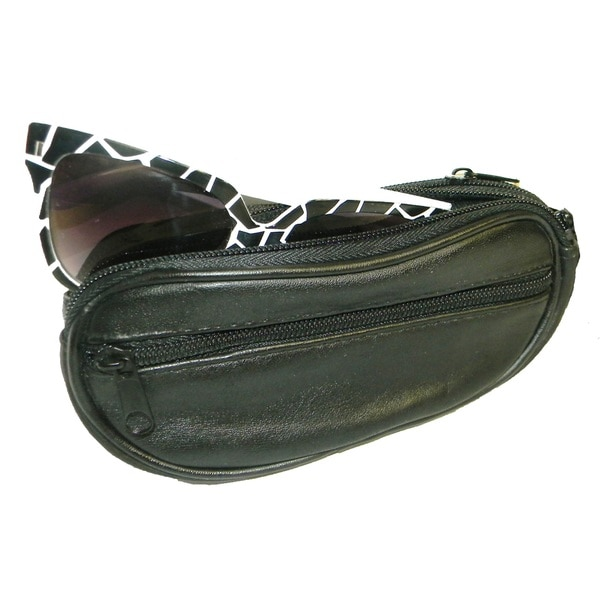 Continental Leather Genuine Leather Double Eyeglass Case with Detachable Wrist Strap and Belt Loop Strap