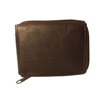 Continental Leather Slim Zip Around Men's Bifold Leather Made with Soft Lambskin Leather
