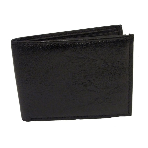 Slim and Thin Men's Genuine Soft Lambskinm Leather Wallet with Two Interior Window IDs