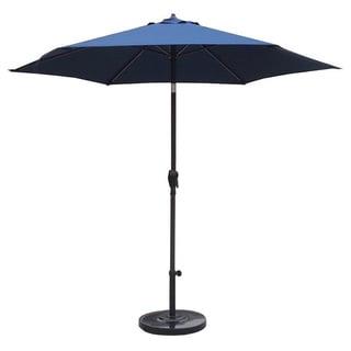 Lauren & Company 9-foot Pacific Blue Steel Crank and Tilt Market Umbrella with Stand