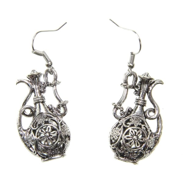 Handmade Tibetan Silver Tea Pot Earrings (China)