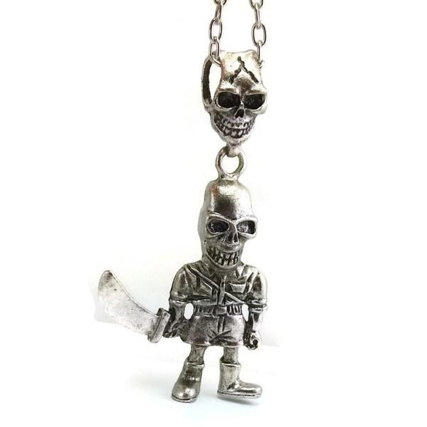 Mama Designs Pewter Silver Tone Skelton Skull Long Necklace