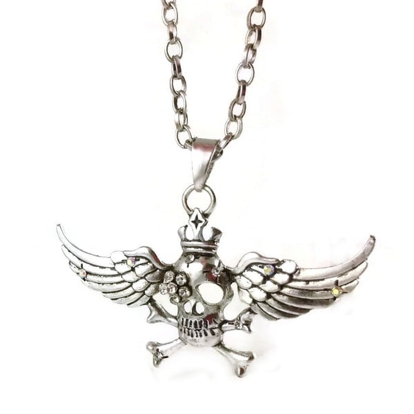 Mama Designs Pewter Hollywood Style Skull with Wings Necklace
