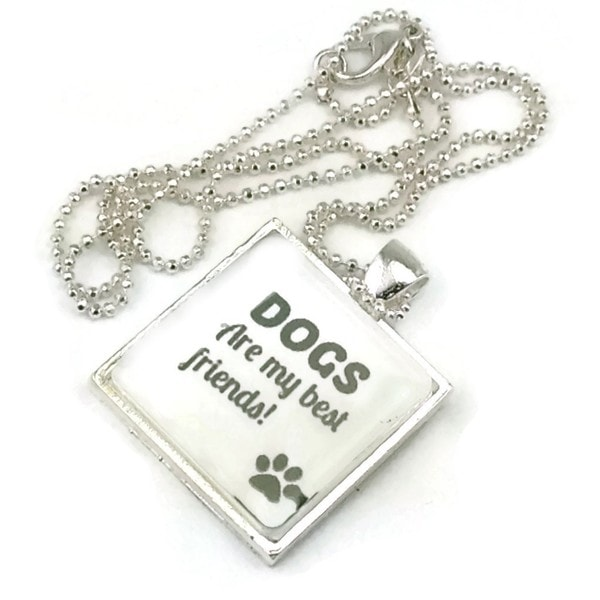 Mama Designs Dogs Are My Best Friend Inspiring Pendant Style Necklace in Sterling Silver or Leather