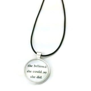 Mama Designs Inspirational Pendant 'She Believed...' Dome Necklace