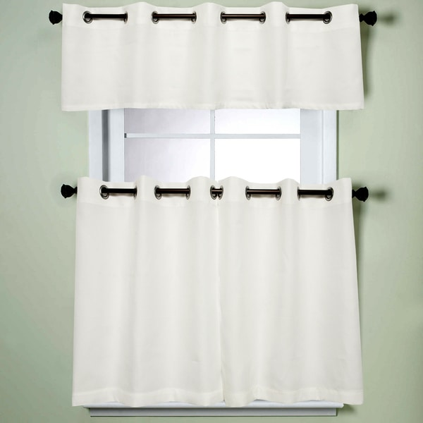 Modern sublte textured solid white kitchen curtains with grommets tiers and valance 17345881 - Modern valances for kitchen ...