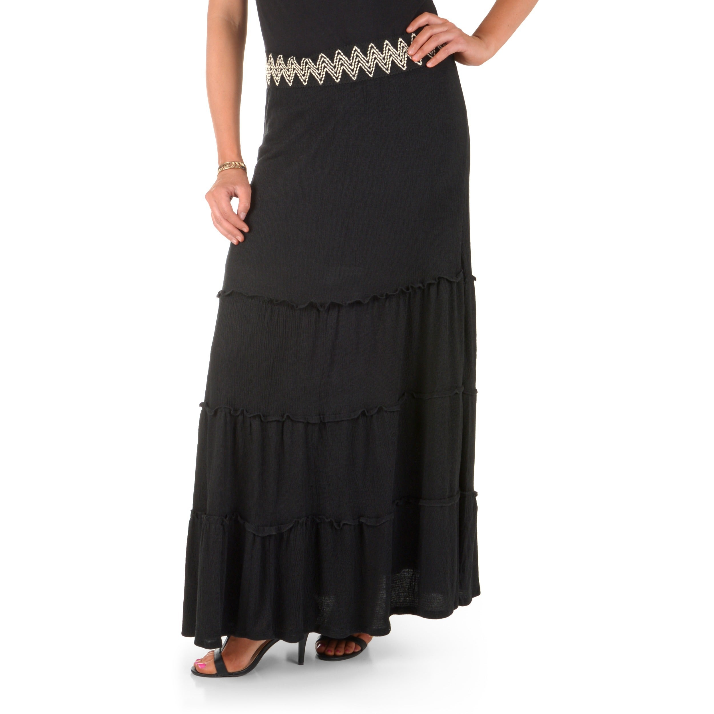 Journee Collection Timeless Comfort by Journee Women's Embroidered Waist Peasant Maxi Skirt