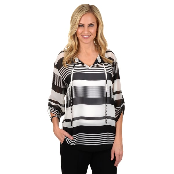 Journee Collection Women's Striped V-neck Chiffon Top