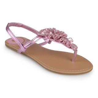 Journee Kids Girl's Ruffled T-strap Sandals