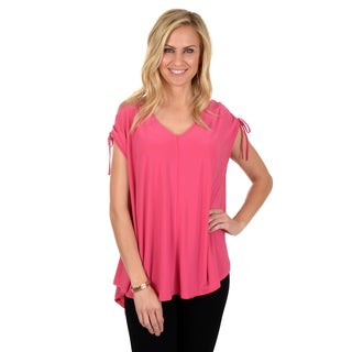Timeless Comfort by Journee Women's Ruched Cap Sleeve V-neck Top
