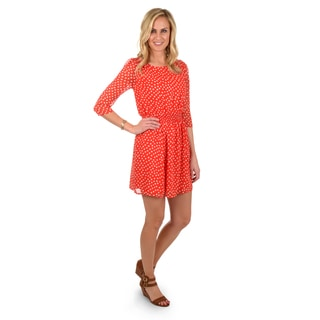 Journee Collection Women's Scoop Neck Polka-dot Chiffon Dress