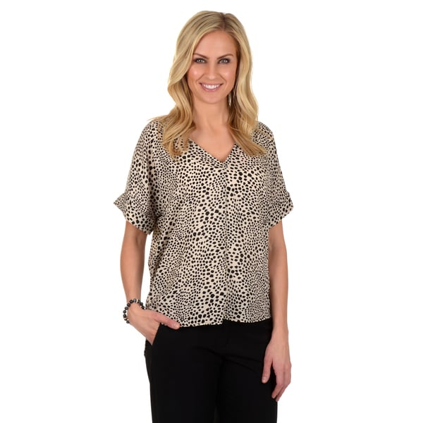 Timeless Comfort by Journee Women's Printed V-neck Blouse