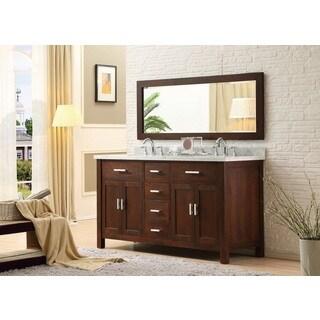63-inch Hutton Dark Brown Double bathroom Vanity Sink Console Set