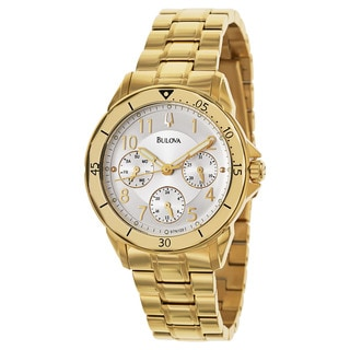 Bulova Women's 'Bracelet' Stainless Steel Yellow Gold Plated Quartz Watch
