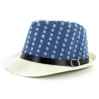 Faddism Men's Denim Fashion Fedora Hat