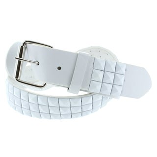 Faddism Men's Genuine Leather White Pyramid Studded Belt