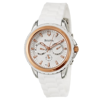 Bulova Women's 'Marine Star' Stainless Steel and Rose Gold Plated Quartz Watch
