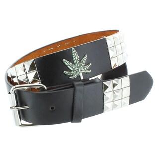 Faddism Men's Genuine Leather Pyramid Studded/ Leaf Symbol Belt