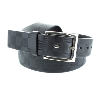 Faddism Men's 1.5-inch Genuine Leather Checker Pattern Belt
