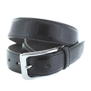 Faddism Men's 1.25-inch Genuine Leather Checker Pattern Belt