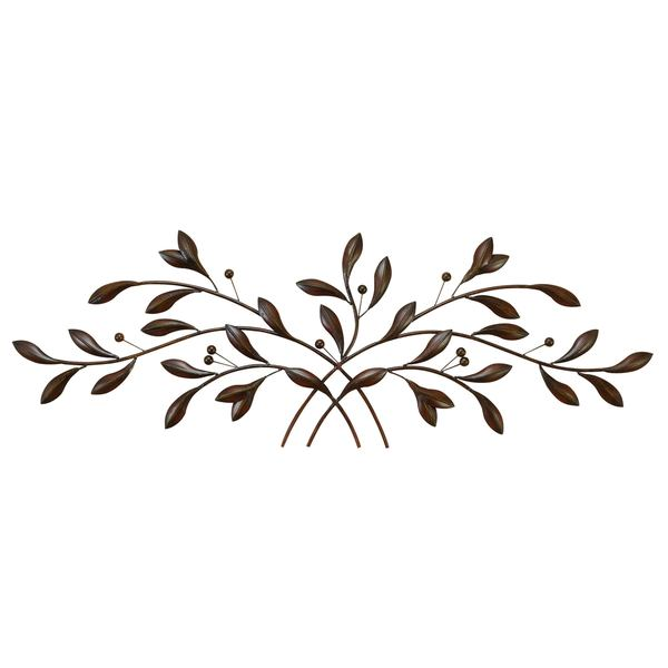60 Inch Traditional Brown Hue Metal Leave With Berries On