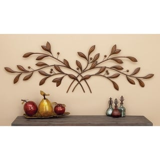 60-inch Traditional Brown Hue Metal Leave With Berries On Iron Branches Wall Sculpture