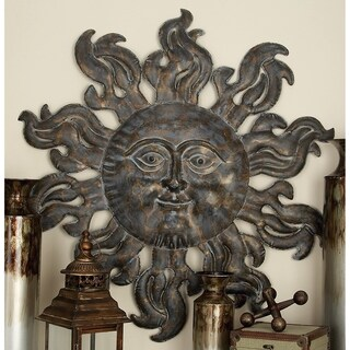 36-inch Diameter Global Inspired Distressed Bronze Textured Iron Celestial Sun Wall Sculpture