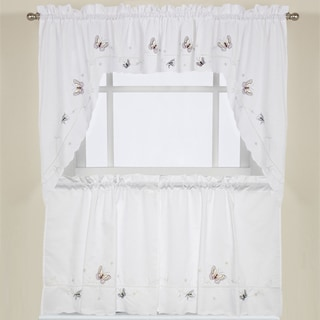 Embroidered Fluttering Butterfly Kitchen Curtains- Tiers, Swag pairs and Valance