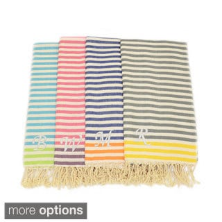 Authentic Pestemal Fouta Stripe Monogrammed Turkish Cotton Bath/ Beach Towel