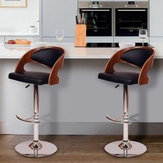 Malibu Swivel Barstool In Black PU/ Walnut Veneer and Chrome Base