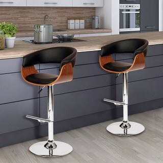 Pino Mid Century Modern Zebra Wood Adjustable Barstool