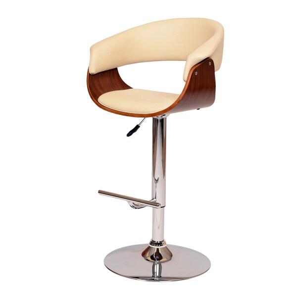 Paris Cream PU/ Walnut Veneer Swivel Barstool with Chrome Base