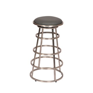 """Ringo 30"""" Backless Brushed Stainless Steel Barstool in Gray Pu"""