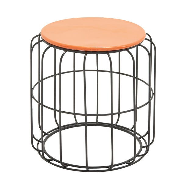 Round Wire Side Table Orange Top