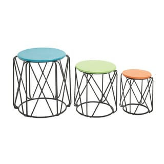 Round Wire Side Table Multicolor (Set of 3)