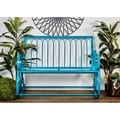 Great Outdoors Turqouise All-weather Tin And Fabric Rocking Bench