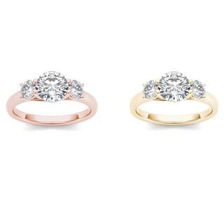 De Couer 14k Gold 1 1/2ct TDW Diamond Three-Stone Anniversary Ring (H-I, I2)