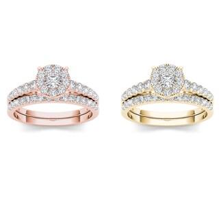 De Couer 10k Gold 1ct TDW Diamond Cluster Engagement Ring (H-I, I2)