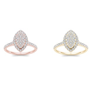 De Couer 10k Gold 3/4ct TDW Diamond Marquise-Frame Halo Engagement Ring (H-I, I2)
