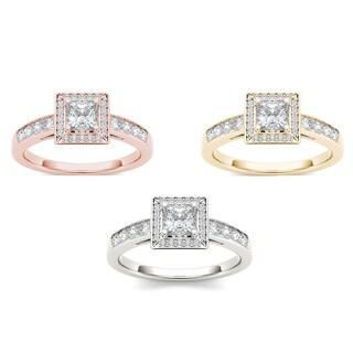 De Couer 14k Gold 7/8ct TDW Diamond Halo Engagement Ring (H-I, I2)