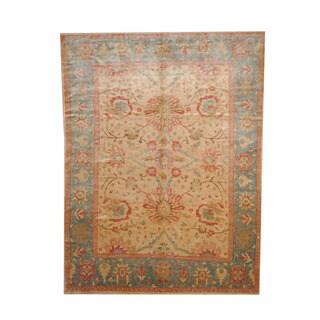 Herat Oriental Afghan Hand-knotted Vegetable Dye Oushak Ivory/ Green Wool Rug (8' x 10'6)