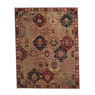 Herat Oriental Afghan Hand-knotted Vegetable Dye Oushak Ivory/ Red Wool Rug (7'8 x 9'10)