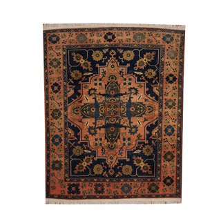 Herat Oriental Afghan Hand-knotted Vegetable Dye Oushak Salmon/ Blue Wool Rug (7'2 x 9'1)