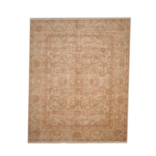 Herat Oriental Afghan Hand-knotted Vegetable Dye Oushak Ivory/ Gold Wool Rug (8'2 x 10')